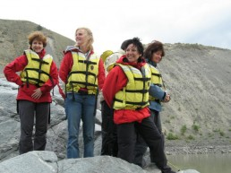 Women- enjoy-time-together-while-on-the-river.